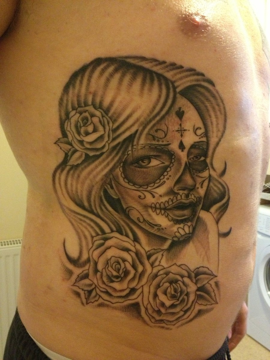 Mexican Lady Sugar Skull And Roses Tattoo For Men