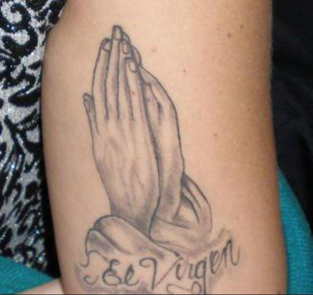 Mexican Praying Hands Tattoo On Arm
