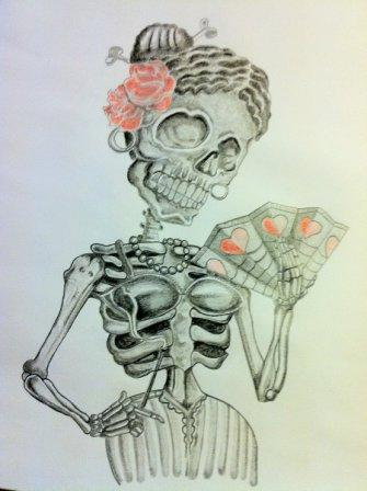 Mexican Skull Woman Tattoo Design
