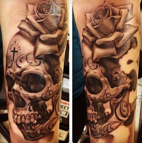 Mexican Style Skull And Rose Arm Tattoo Design