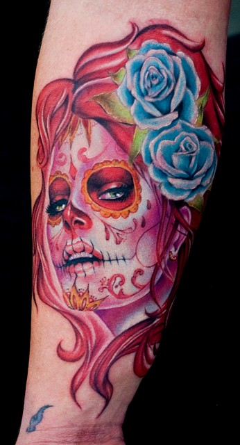 Mexican Sugar Skull And Blue Roses Tattoo