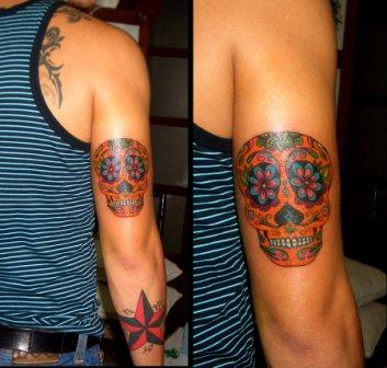 Mexican Sugar Skull And Nautical Star Tattoo On Arm