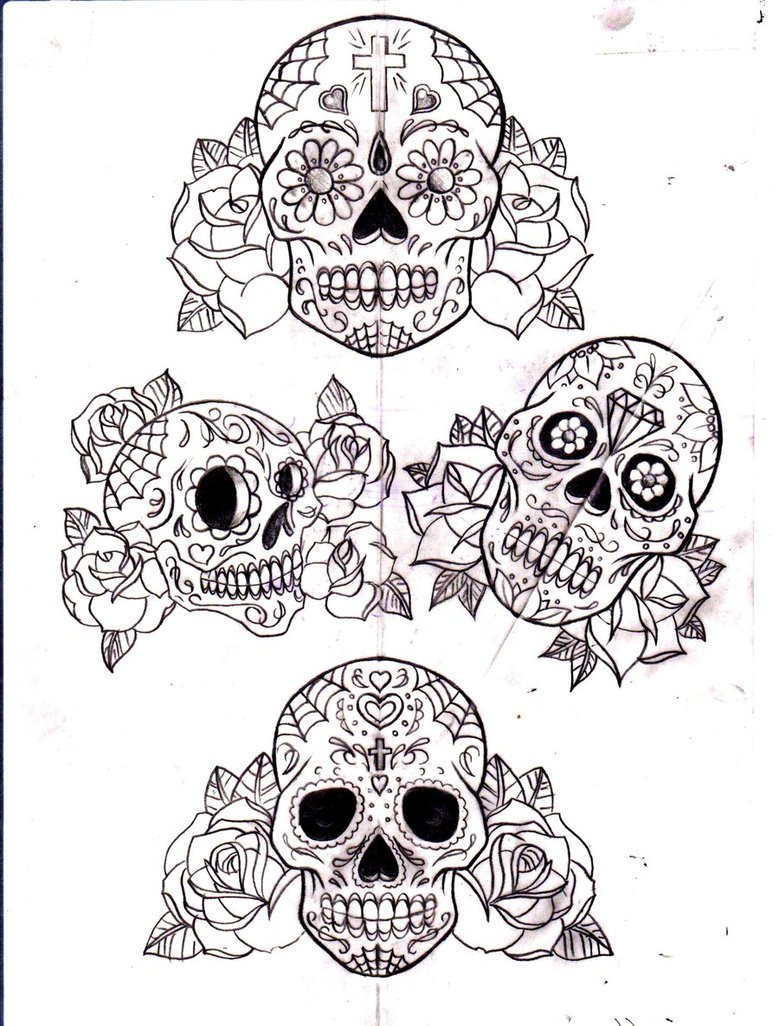 Mexican Sugar Skull And Roses Tattoo Design