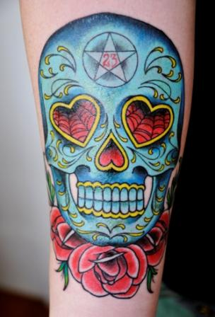 Mexican Sugar Skull And Roses Tattoo On Arm