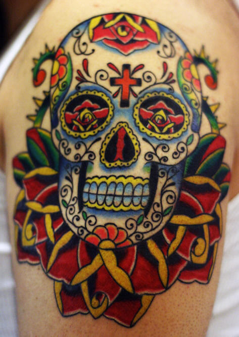 Mexican Sugar Skull And Roses Tattoo On Shoulder