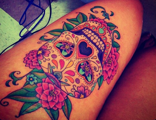 Mexican Sugar Skull And Roses Tattoo On Thigh
