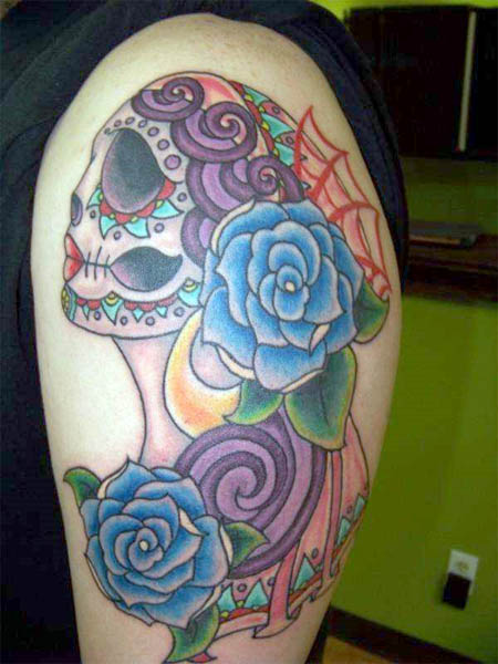 Mexican Sugar Skull Maiden With Blue Roses Tattoo On Arm