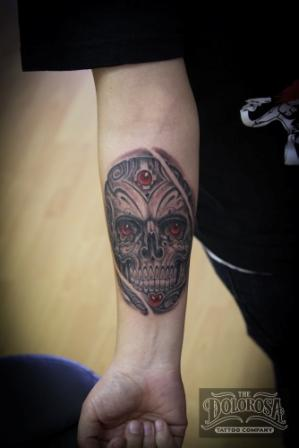 Mexican Sugar Skull Tattoo On Lower Arm