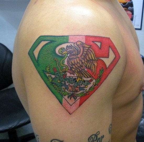 Mexican Superman Logo And Eagle Tattoo On Shoulder