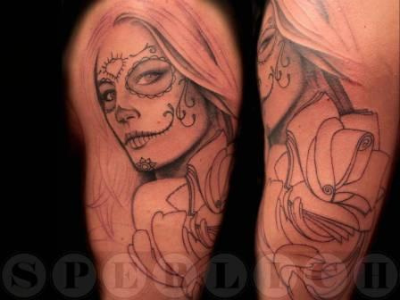 Mexican Woman Tattoo On Arm