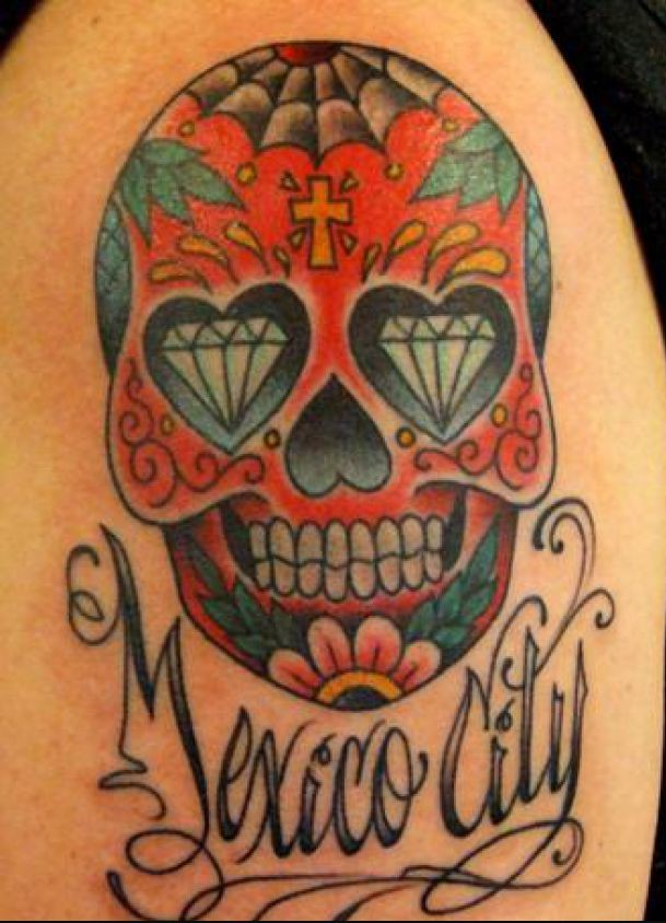Mexico City Sugar Skull Tattoo Design