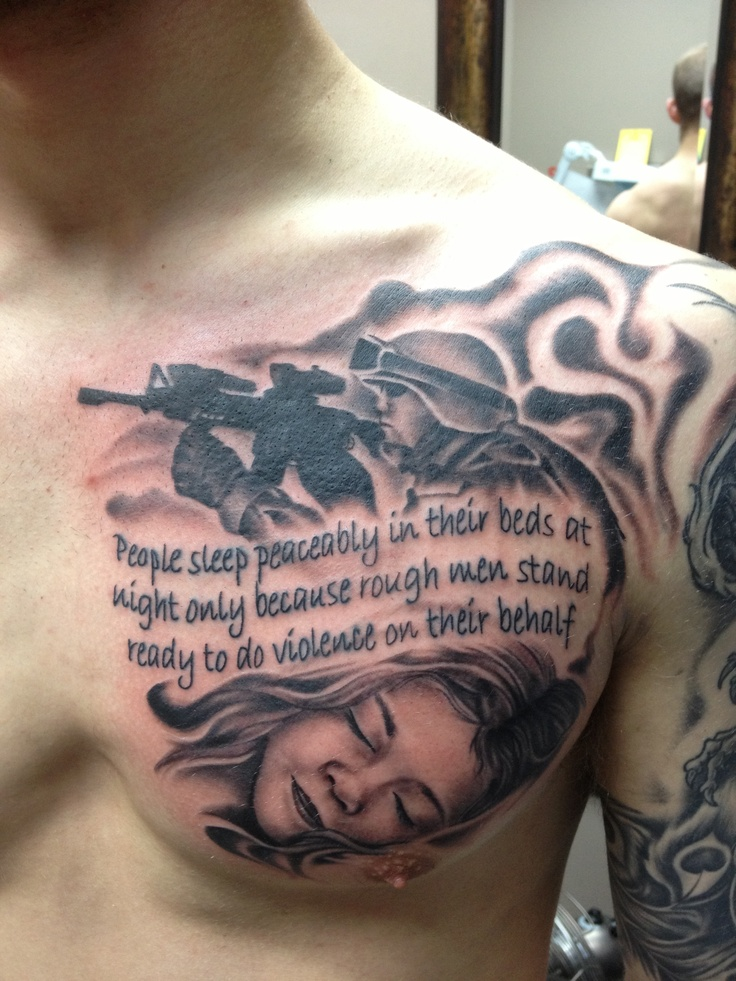 Military And Sleeping Girl Portrait Tattoo On Chest