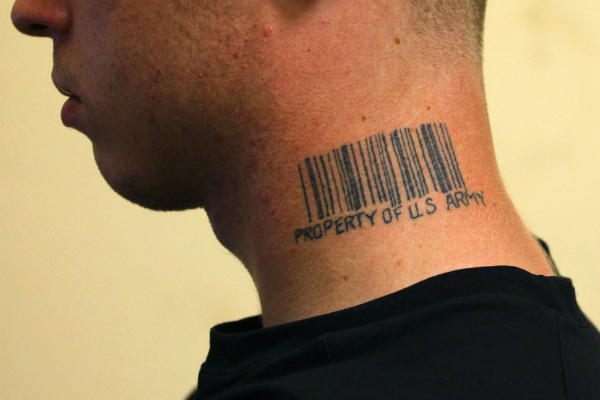 Military Barcode Tattoo On Neck