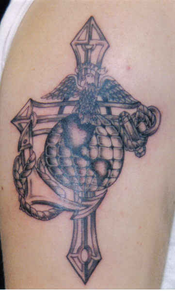 Military Cross Anchor Globe Tattoo On Biceps