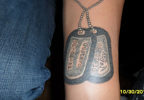 Military Dog Tag Tattoo Designs On Arm