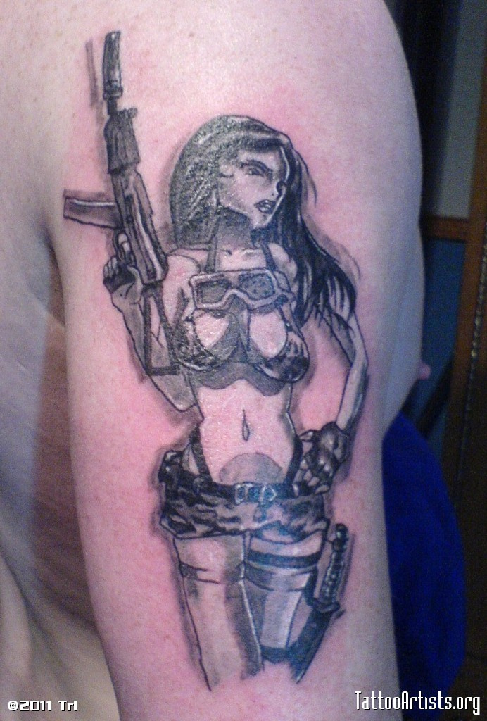 Military Girl Holding Gun Tattoo Design