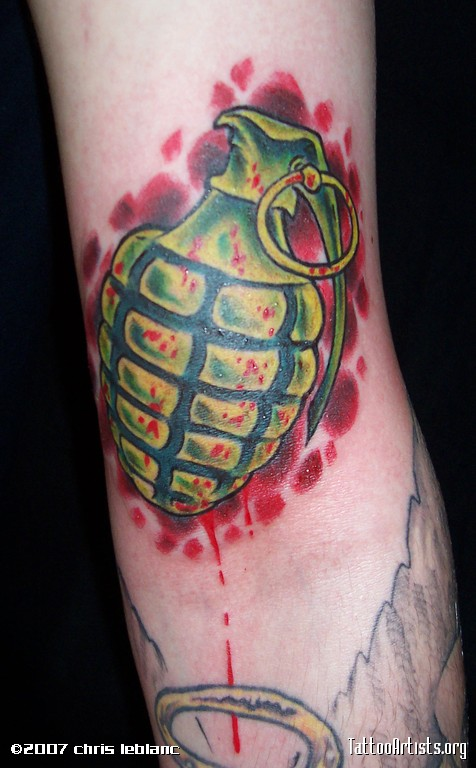 Military Grenade Tattoo On Arm