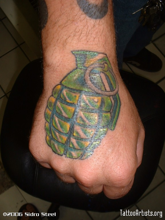 Military Grenade Tattoo On Hand