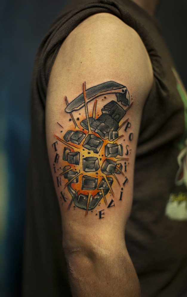 Military Hand Grenade Tattoo On Biceps
