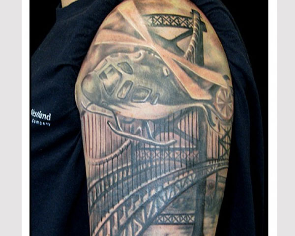 Military Helicopter-Tattoo With Bridge Background