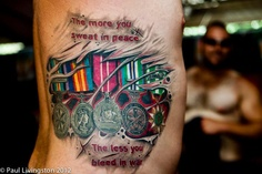 Military Medals Tattoo On Rib Side For Men