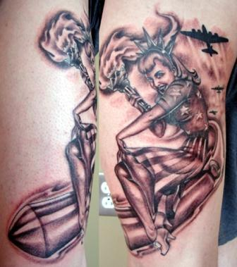 Military Pinup Bomer Tattoo Design