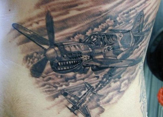 Military Plane Tattoo On Rib