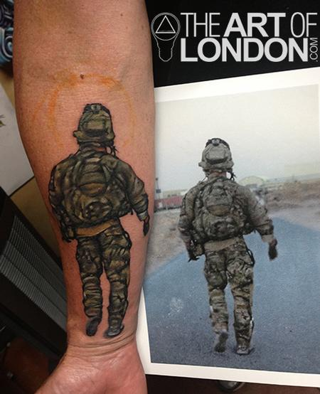 Military Ranger Walking Realism Tattoo On Lower Arm
