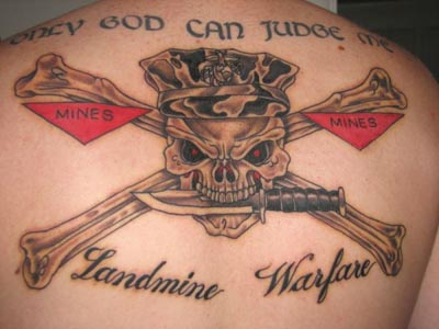Military Skull Bones Tattoo On Back Body