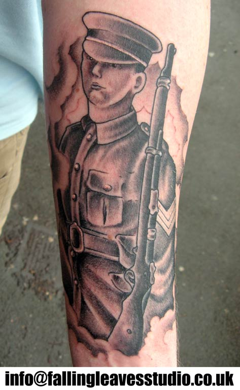 Military Soldier Tattoo On Arm