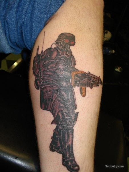Military Soldier Tattoo On Leg