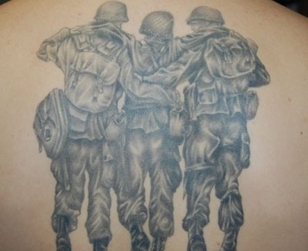 Military Soldiers Tattoo On Back