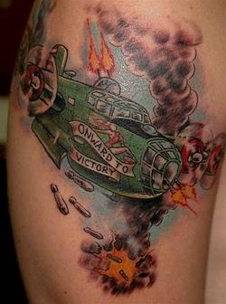 Military War Plane Tattoo On Biceps