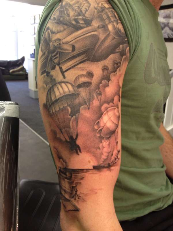 Military War Tattoo On Half Sleeve For Men