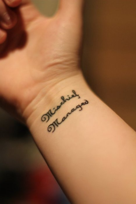 Mischief Managed Literary Tattoo On Wrist