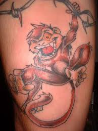 Monkey Hanging A Barb Wire Tattoo Design