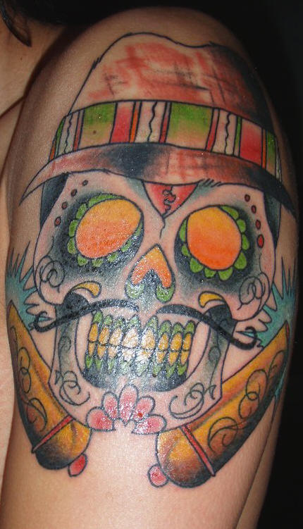Moustache Mexican Skull Tattoo On Shoulder