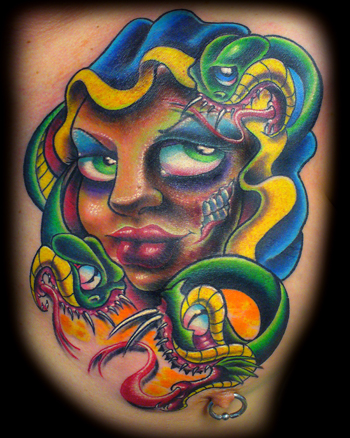 New School Medusa Tattoo And Nipple Piercing