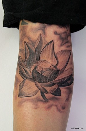 Nice Lotus Flower Tattoo On Arm