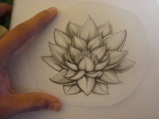 Nice Lotus Tattoo Sketch