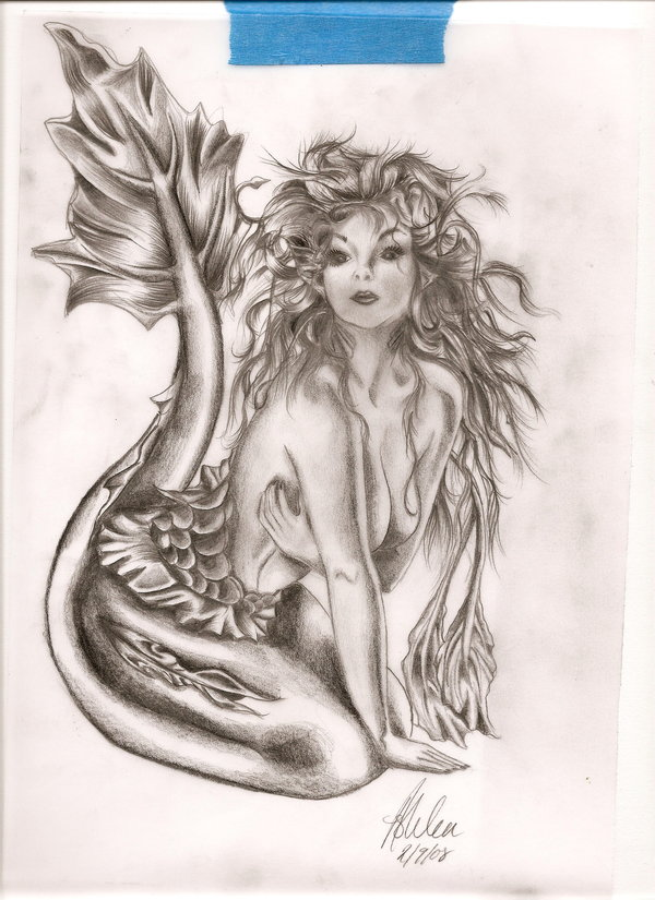 Nice Mermaid Tattoo Sketch
