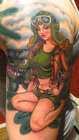 Nice Military Pin Up Girl Tattoo