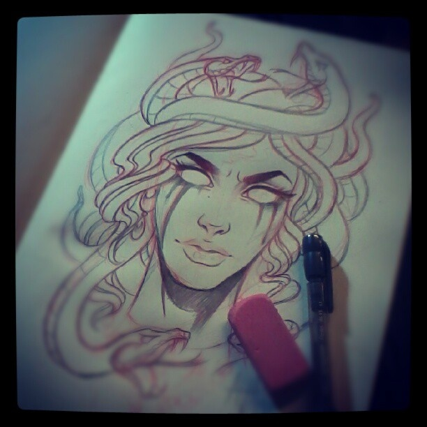 One More Medusa Tattoo Sketch