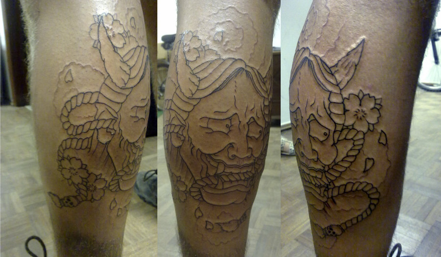 Outline Hannya Mask Tattoo On Back Leg