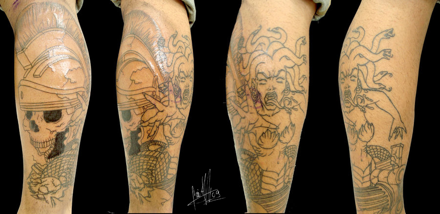 Outline Skull And Medusa Tattoo On Leg