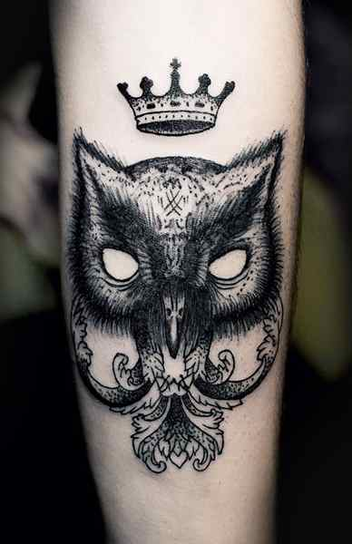Owl Mask Tattoo With Crown