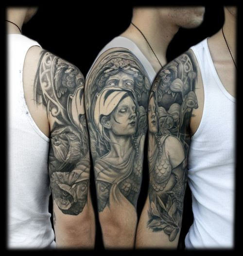 Persius And Medusa Half Sleeve Tattoo Design