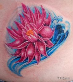 Pink Lotus And Blue Waves Tattoo Design