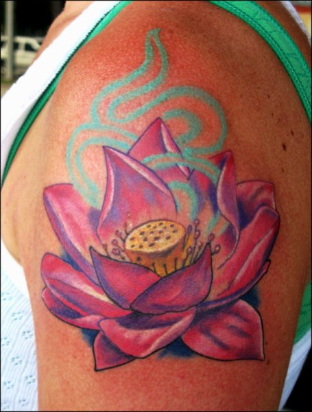 Pink Lotus Flower Tattoo On Shoulder