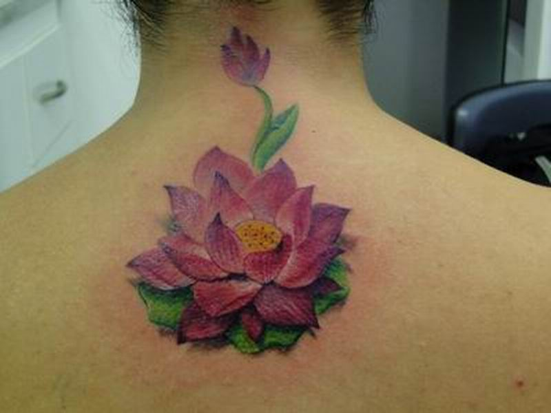 Pink Lotus Flower Tattoo On Upper Back